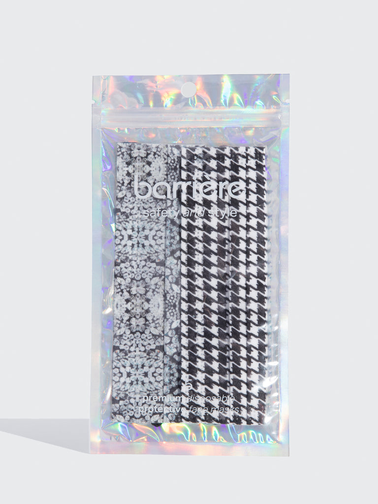 barrière 5 pack of houndstooth and diamond print medical masks