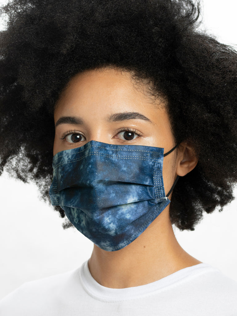 model in barriere indigo tie dye disposable medical mask