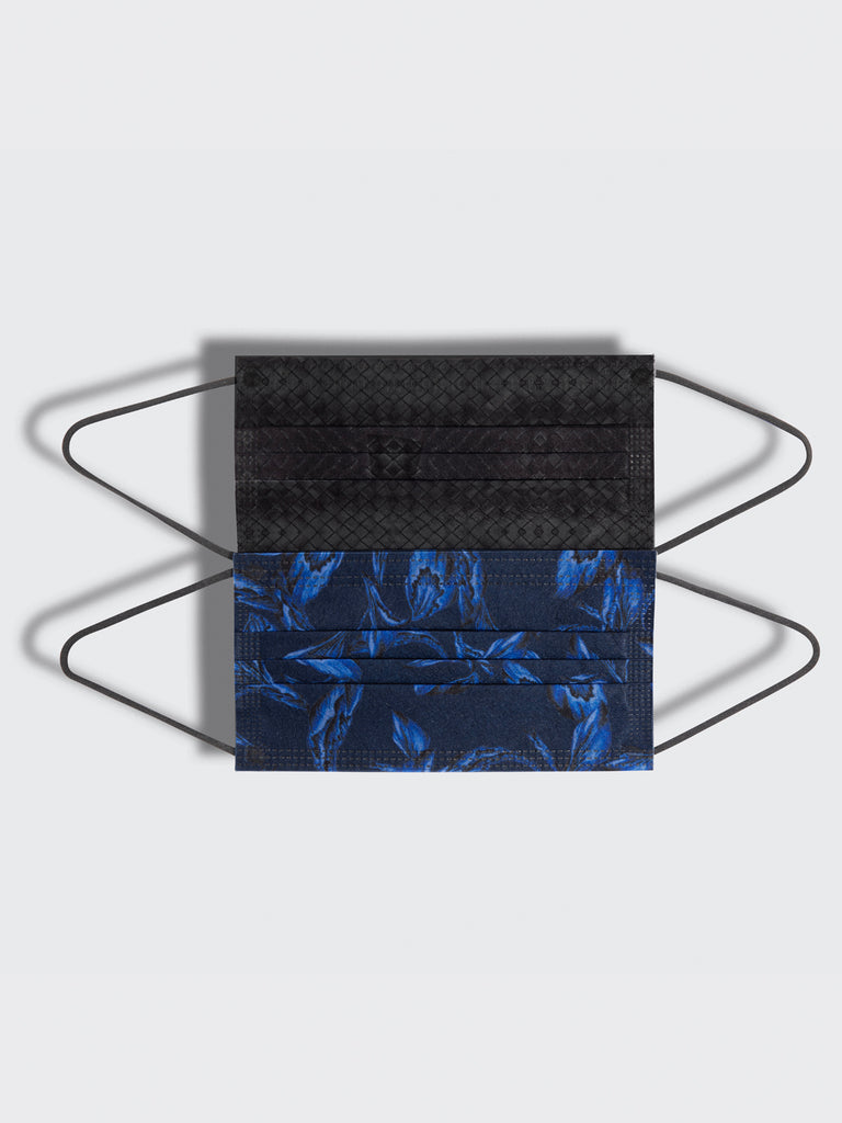 barrière unisex disposable masks in black woven texture and navy iris floral prints 10 pack