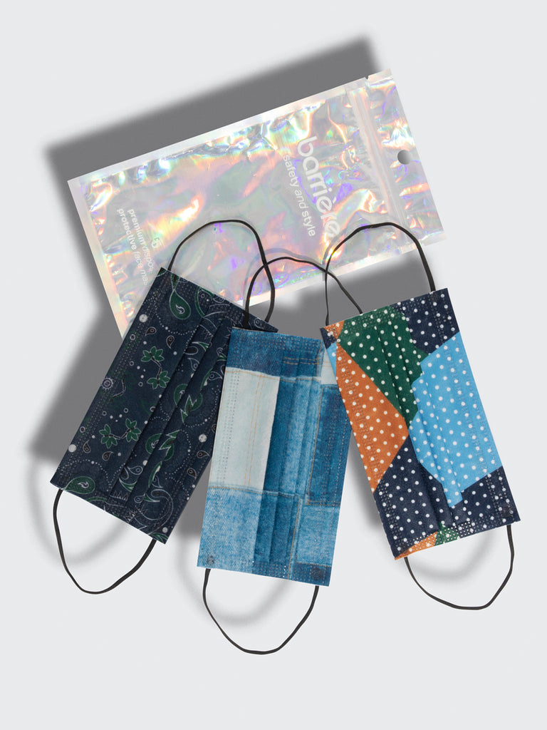 barrière unisex disposable medical masks in bandana denim and polka dot prints