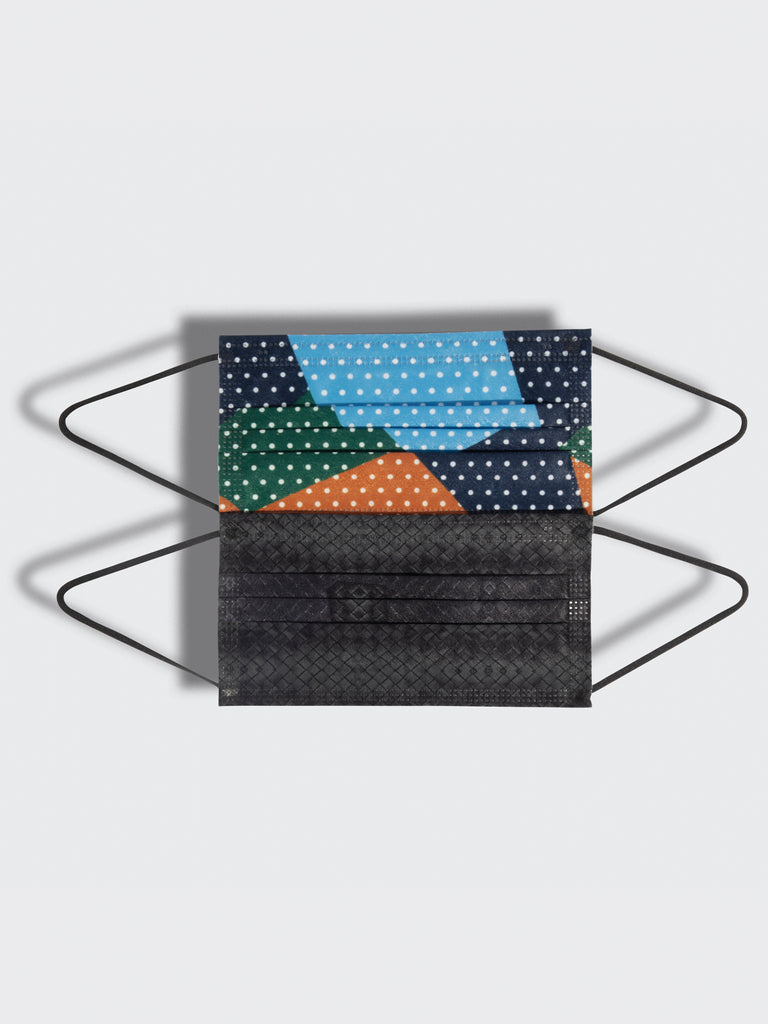 barrière unisex disposable medical masks in black basketweave and dot collage prints