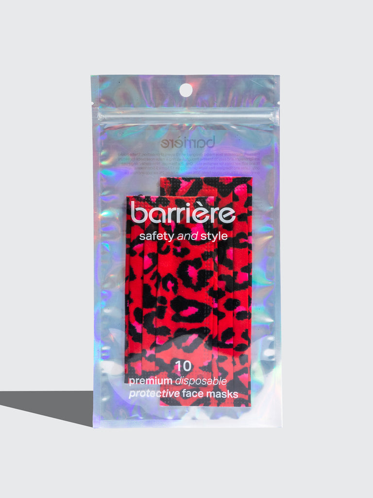 barriere disposable medical masks in red pink and black leopard animal print in adult and kids sizes