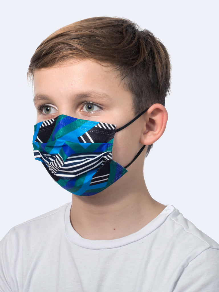 barrière kids blue multi stripe medical mask on model's face