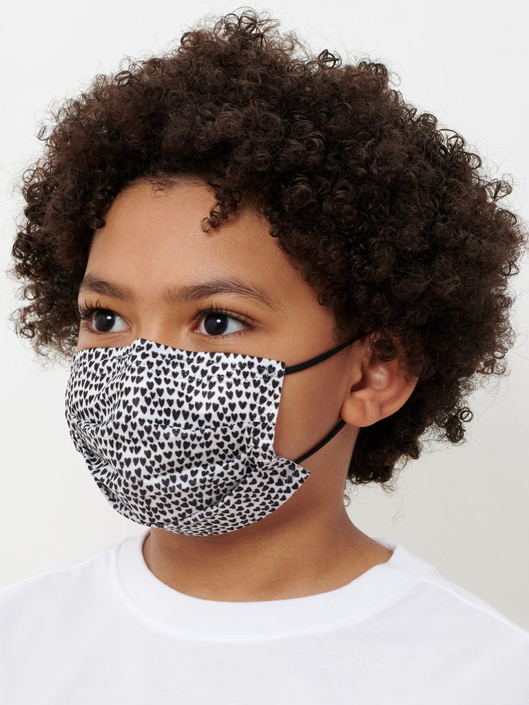 barrière kids medical disposable face mask in blue denim and heart print