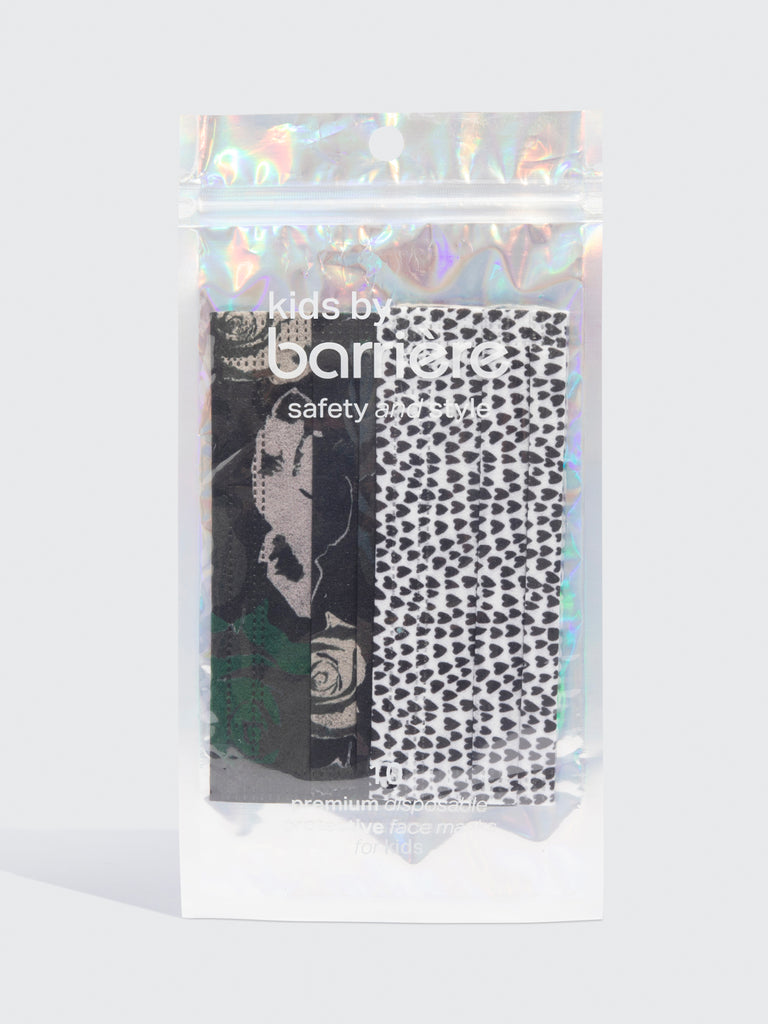 barrière kids disposable masks in army rose camoflage and black and white heart prints 10 pack