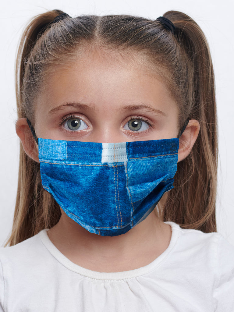 barriere kids premium disposable medical mask in denim collage