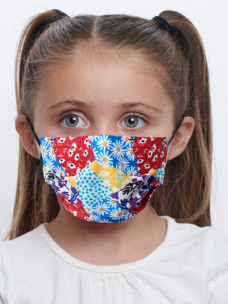 barriere kids premium disposable medical mask in floral collage print
