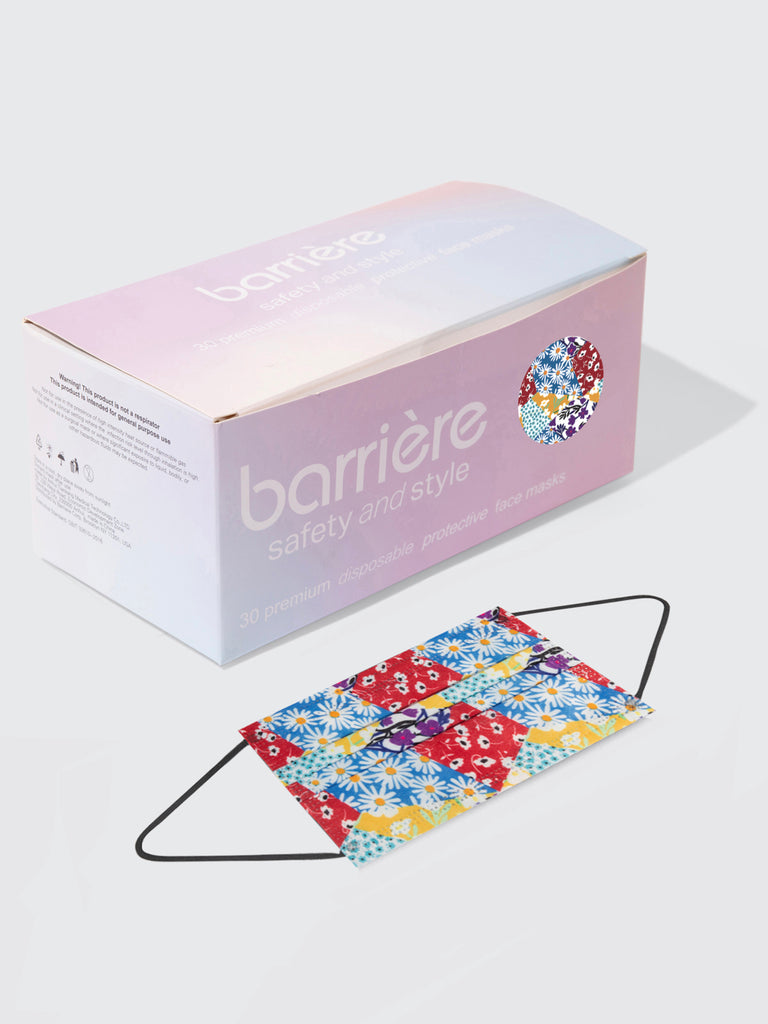 barrière 30 piece box of kids disposable sustainable medical masks in multicolor Floral Collage print