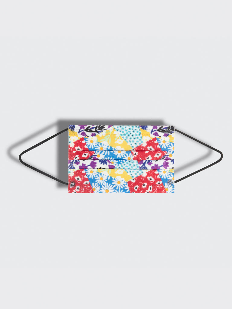barrière kids disposable sustainable medical grade masks in multicolor floral collage print