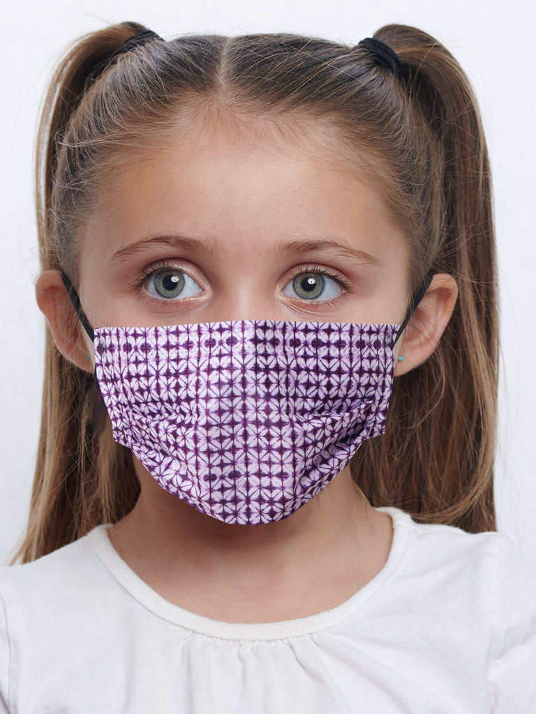 barriere kids premium disposable medical mask in plum shibori print