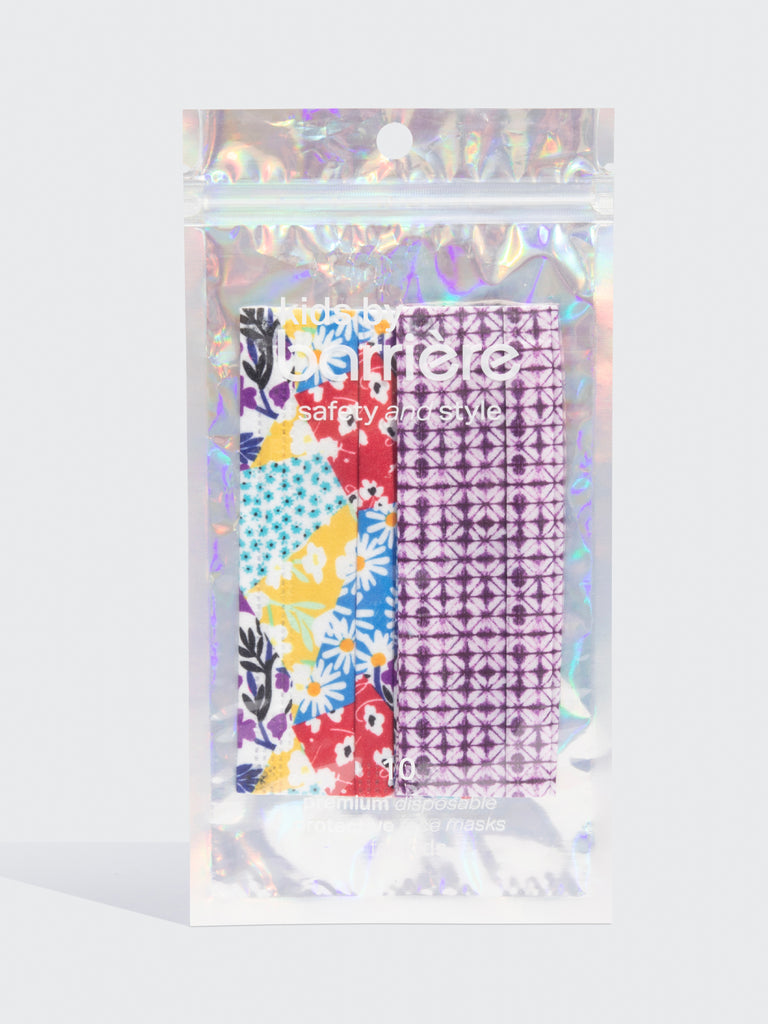 barriere kids premium disposable medical mask in floral collage and shibori print