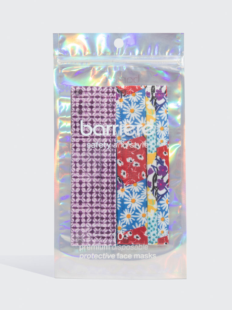 barriere unisex premium disposable medical masks in floral collage and plum shibori print