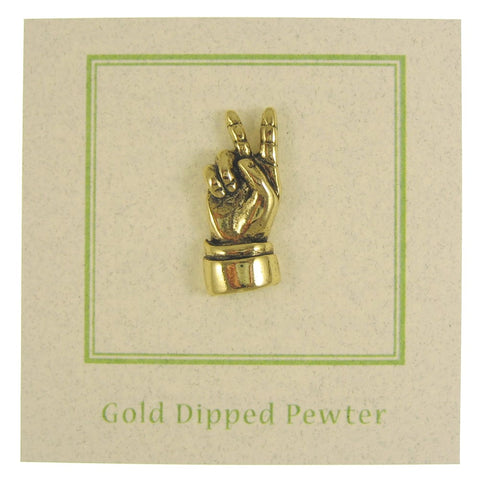 Peace Hand Sign Gold Lapel Pin