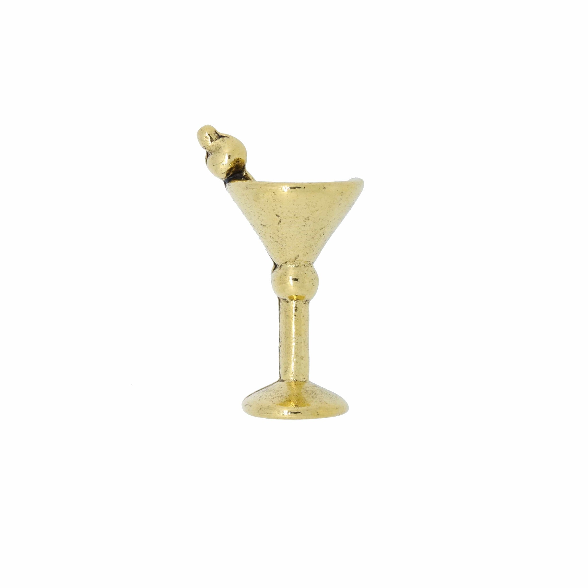 Martini Glass Gold Lapel Pin