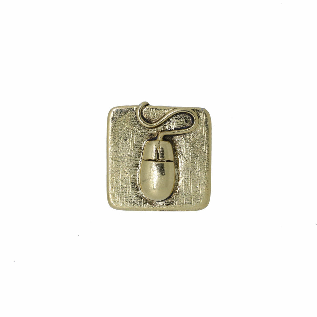 Computer Mouse Gold Lapel Pin