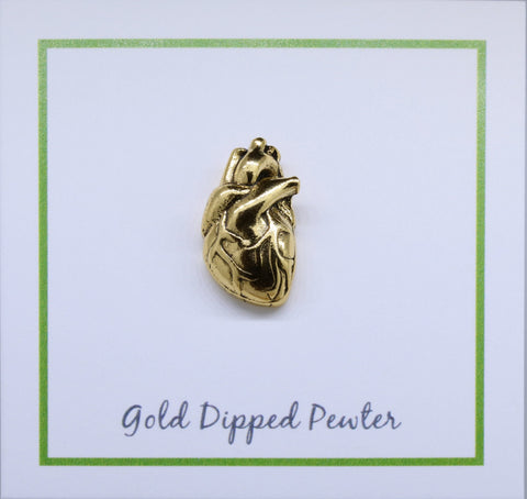 Human Heart Gold Lapel Pin