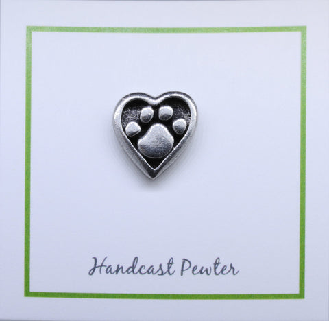 Heart and Paw Lapel Pin