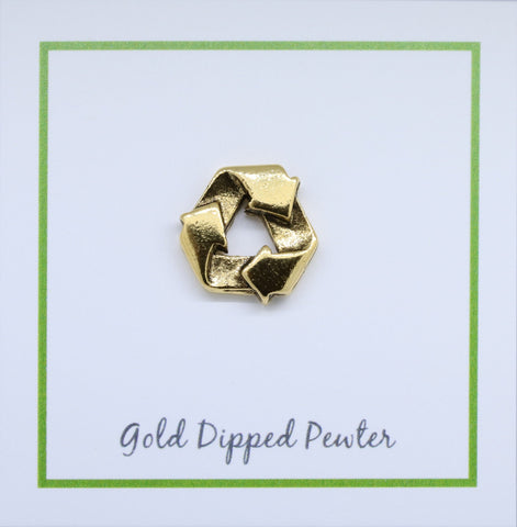 Recycle Symbol Gold Lapel Pin