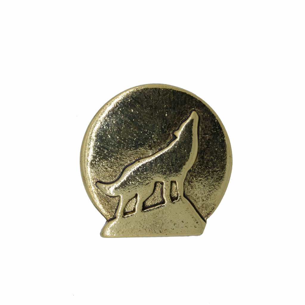 Howling Wolf Gold Lapel Pin