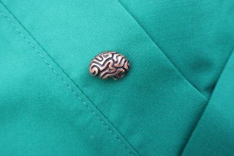 Brain Copper Lapel Pin