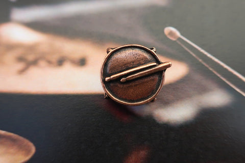 Drum with Drum Sticks Copper Lapel Pin