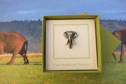 Elephant Head Lapel Pin