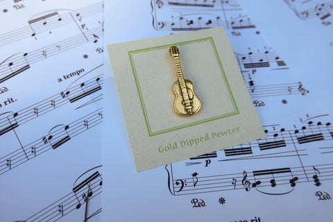 Acoustic Guitar Gold Lapel Pin