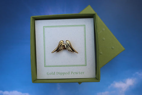 Angel Wings Gold Lapel Pin