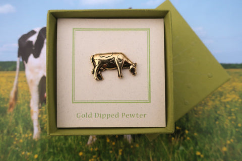 Cow Gold Lapel Pin