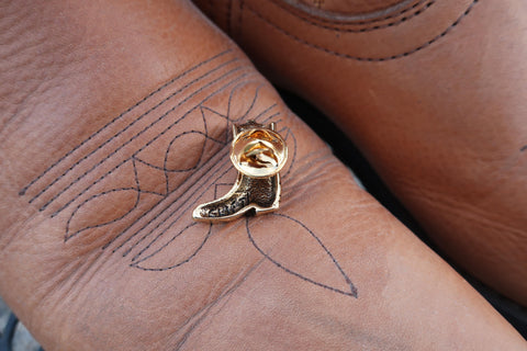 Cowboy Boot Gold Lapel Pin
