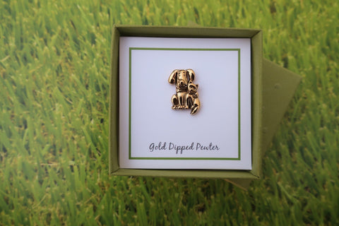 Dog and Cat Gold Lapel Pin