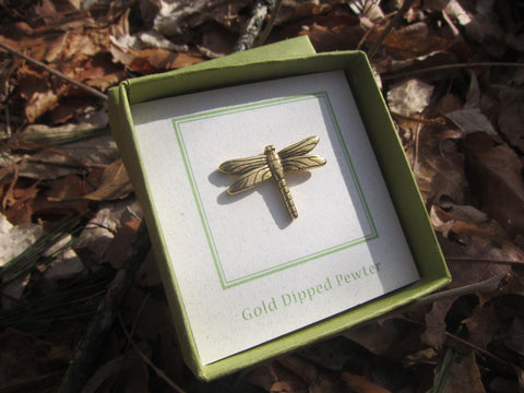 Dragonfly Gold Lapel Pin