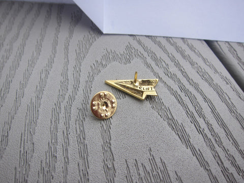 Paper Airplane Gold Lapel Pin