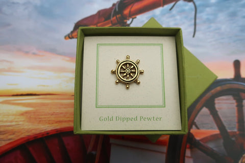 Ship's Wheel Gold Lapel Pin