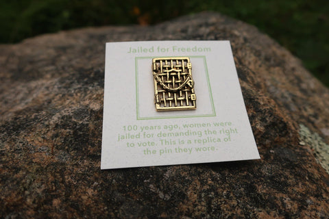 Suffragette Jail Door Gold Lapel Pin