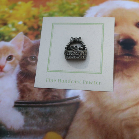 Kittens in a Basket Lapel Pin