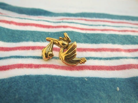 Stork Gold Lapel Pin