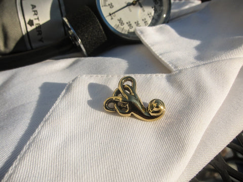 Vestibular System Gold Lapel Pin