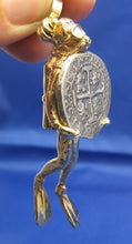 Load image into Gallery viewer, 14K Solid Gold Large Diver Pendant with 2 Reale Replica Shipwreck Coin
