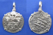 "Load image into Gallery viewer, '2 Reale"" Pirate Cob Replica in Sterling Silver with Skull Bezel"