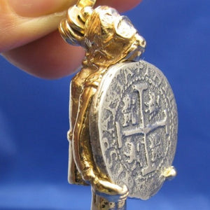 14K Solid Gold Large Diver Pendant with 2 Reale Replica Shipwreck Coin
