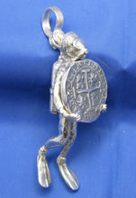 Load image into Gallery viewer, Very Large Unique 3-D Sterling Silver Mens Diver Pendant Holding Shipwreck Coin Attention Grabber 2.5 x 1 inches Nautical Handcrafted Design