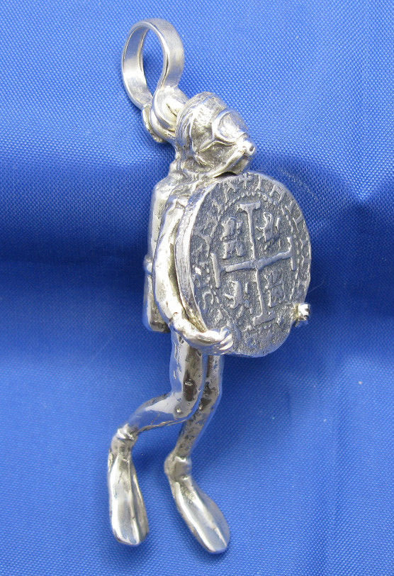 Very Large Unique 3-D Sterling Silver Mens Diver Pendant Holding Shipwreck Coin Attention Grabber 2.5 x 1 inches Nautical Handcrafted Design