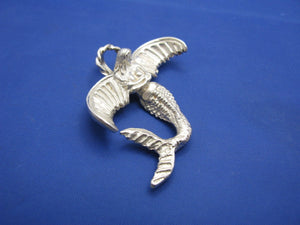 Sterling Silver Hybrid Mermaid Angel Pendant in Sterling Silver with Halo Bail