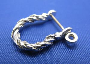 Sterling Silver .925 Rope Twisted Pirate Single Shackle Earring Hoop with Threaded Screw Post