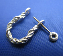 Load image into Gallery viewer, Sterling Silver .925 Rope Twisted Pirate Single Shackle Earring Hoop with Threaded Screw Post
