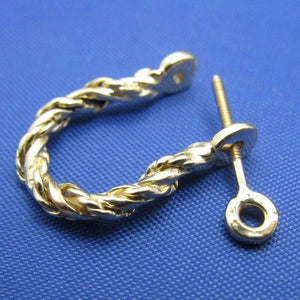 14k Gold Single Rope Twisted Pirate Shackle Earring Hoop