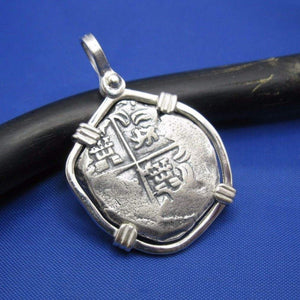 "Sterling Silver Hand Bezeled ""2 Reale"" Shipwreck Reproduction Coin Pendant with Faded Markings"