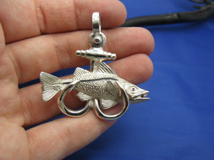 Sterling Silver Large Nautical Anchor Shaped Double Fish Hook with Snook Pendant
