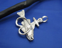 Load image into Gallery viewer, Sterling Silver Large Nautical Anchor Shaped Double Fish Hook with Snook Pendant